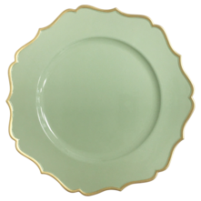 CHARGER PLATE- SAGE/GOLD FRILL (12)