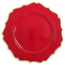CHARGER PLATE - RED/GOLD FRILL