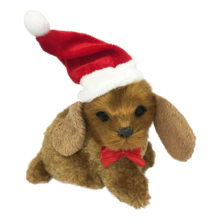 BEIGE DOG WITH BIG EARS W SANTA HAT