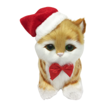 GINGER STRIPED CAT WITH SANTA HAT