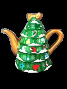 CERAMIC CHRISTMAS TREE POT - GREEN BASE