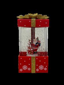 RED/GOLD LED PRESENT BOX SNOWGLOBE