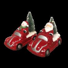 SET 2 SANTA/ SNOWMAN IN CAR LED