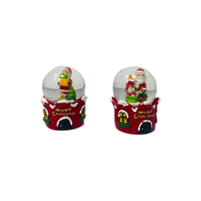 DOZ, 2 ASST SANTAS ON 'MERRY CHRISTMAS' HOUSE SNOWGLOBES