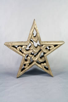 24CMH CARVED WOOD STAR WITH GOLD GILT COVERING