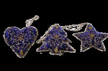 SET3 HAND EMROIDERED BLUE VELVET HANGERS (6)