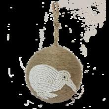 JUTE BALL WITH WHITE BEADED KIWI