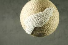JUTE BALL WITH WHITE BEADED TUI