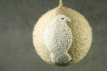 JUTE BALL WITH WHITE BEADED WOOD PIGEON (6)