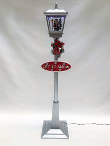 180CMH SILVER STREET LAMP WITH BLOWING SNOW AND MUSIC