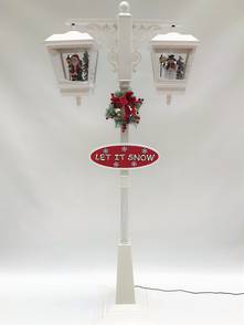 180CMH WHITE DOUBLE STREET LAMP WITH BLOWING SNOW AND MUSIC