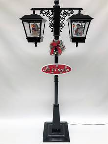 180CMH BLACK DOUBLE STREET LAMP WITH BLOWING SNOW AND MUSIC