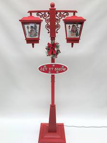 180CMH RED DOUBLE STREET LAMP WITH BLOWING SNOW AND MUSIC