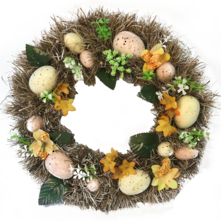 EASTER EGG AND FLOWER WREATH