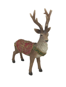 RESIN DEER WITH RED/GOLD SADDLE