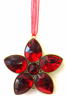 RED/GOLD JEWELED FLOWER (12)
