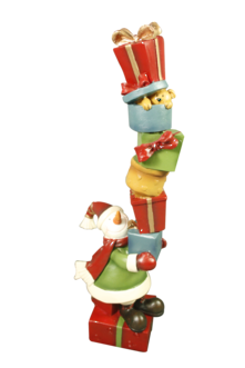 RESIN SNOWMAN AND PRESENT STACK