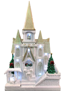 GOLD CHURCH LIGHTED HOUSE WITH LED LIGHTS