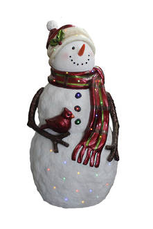 GIANT SNOWMAN WITH CARDINAL LED MUSIC