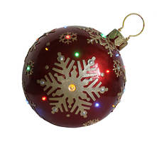 RED/GOLD OUTDOOR BAUBLE WITH LED