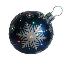 BLUE/SILVER OUTDOOR BAUBLE WITH LED