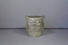SMALL SILVER GLASS OWL TEALIGHT (6)