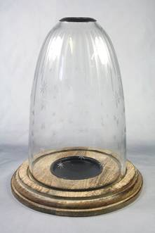 25CMH CANDLE HOLDER WITH ENGRAVED GLASS DOME