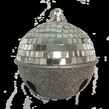 DOZEN SILVER GLITTER DISCO BALL BELL