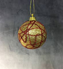 GOLD GLITTER BAUBLE WITH RED SWIRL (12)