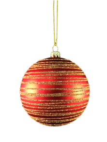 RED/GOLD SWIRL PLASTIC BALL HANGER (12)