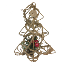 METAL XMAS TREE SHAPE HANGER WRAPPED DECORATION & BERRIES (12)