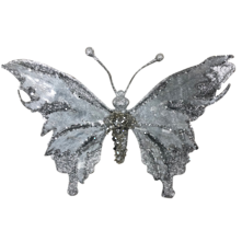 17.5CMW SILVER BUTTERFLY ON CLIP