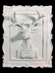 WHITE FEMALE DEER  3D WALL PLAQUE