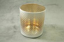 WHITE DIAMOND PATTERN WITH AGED GOLD INNER TEALIGHT (12)
