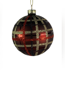 8CMD BURGANDY BALL WITH GLITTER TARTAN (12)