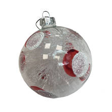 CLEAR WITH RED AND WHITE SPOT GLASS BALL (12)