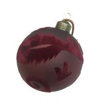 BURGUNDY FLOCK FEATHER GLASS BALL (12)