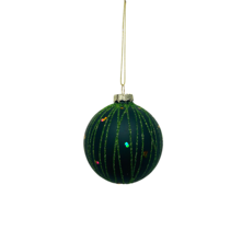 GREEN GLASS BALL WITH GREEN GLITTER LINES (12)