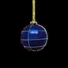 BLUE TARTAN GLASS BALL (12)
