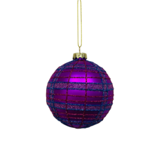 PURPLE TARTAN GLASS BALL (12)