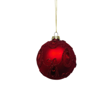 RED GLASS BALL WITH GEMS (12)
