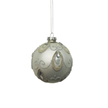 SILVER/WHITE GLASS BALL WITH GEMS (12)