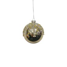 GOLD GLASS BALL WITH SNOW CRYSTALS (12)