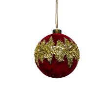 RED BALL WITH GOLD GLITTER CENTRE (12)