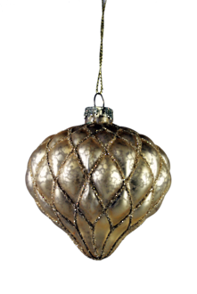 AGED GOLD GLASS ONION HANGER WITH GOLD DECORATION (12)
