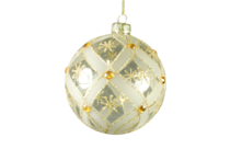 CLEAR GLASS BALL WITH GOLD PATTERN AND GOLD GEMS (12)