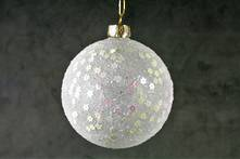 8CMD WHITE GLASS BALL WITH PEARLESCENT STARS (12)