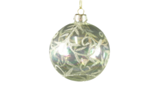 8CMD CLEAR GLASS BALL WITH CHAMPAGNE LEAF PATTERN (12)