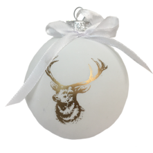 8CMD WHITE PAINTED GLASS BALL WITH GOLD REINDEER (12)