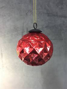 8CMD RED DIAMOND PATTERN GLASS BALL (12)